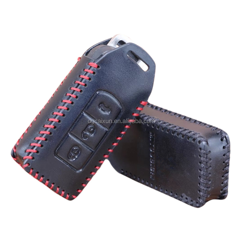 Genuine Leather Smart Remote Car Key Case Cover Protector For Mitsubishi Outlander Lancer EX ASX Pajero