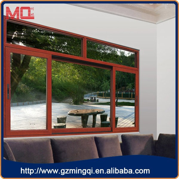 Aluminium profile single pane horizontal sliding storm windows wooden color