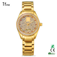 Brand New Lady Women Quartz stone Crystal Wrist Watch gold surface case