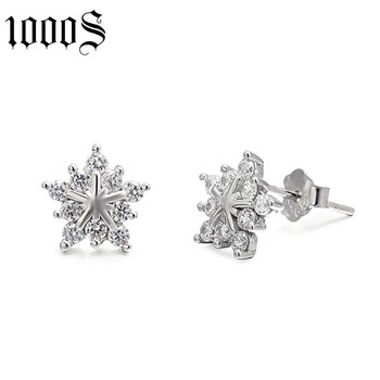 fashion style rhodium plating 925 silver stud earring for anniversary