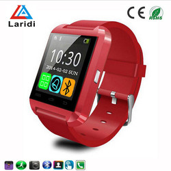 Led touch screen watches smart watch u8 stainless steel dial and silicone strap