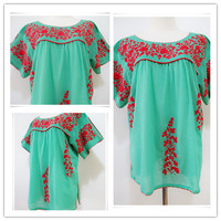Blouse featuring Contrast Embroidered color (EMB10009)