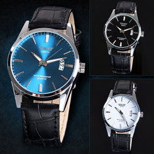New Fashion Luxury Leisure Leather Quartz Date Mens Wrist Watch High Quality