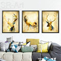 Nordic Abstract Gold Deer Elk Canvas Paintings