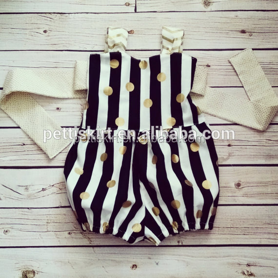 Black and white stripes gold sequins bubble rompers for baby kids romper