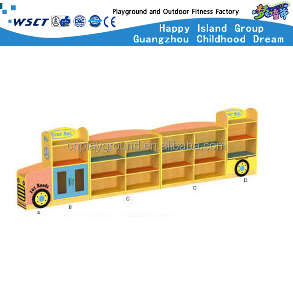 (HC-3101)Bus Model Wood Children Toys Cabinet wooden toy organizer