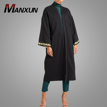Fashion Abaya Designs Dubai Pictures High Quality Beautiful Embroidery Islamic Clothing Long Sleeve Soft Black Kimono Abaya