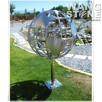 Large Carved Stainless Steel World Map /Metal Sculpture