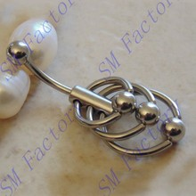 wholesale fashion triple looped slave navel belly ring body piercing jewelry --SMSTNR59001