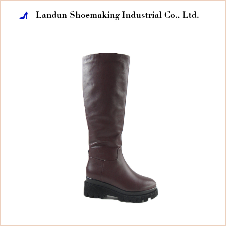 2017 women dark red tight knee high spring and autumn zipper boots