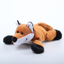 Hot selling plush toy fox stuffed soft animal toy with black shine eyes and long hair tail