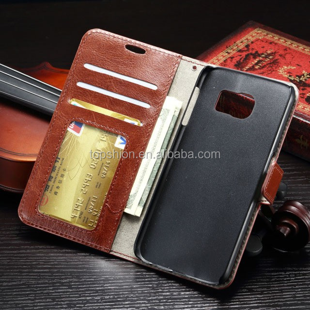 Crazy Horse Stand Wallet Leather Case With Magnet Clutch, Flip Folio PU Leather Case For Samsung Galaxy S7/ S7 Edge