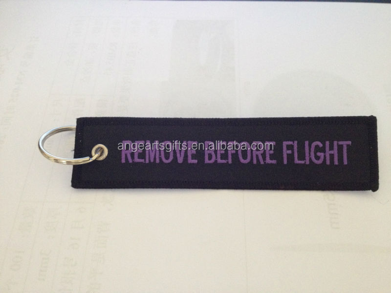 Hot products company website emboridery logo Remove before flight embroidery logo keychain red embroidered company logo keyring