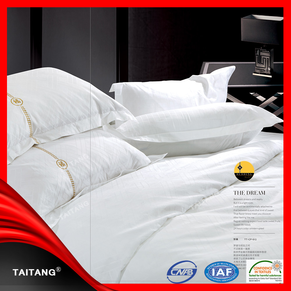 big size hotel plain white 100% cotton bed sheet