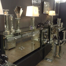 Crystal Sideboard With 3Drawers Cabinet Mirrored Furniture