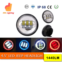 China supplier 4.5inch 4x4 accessories Car LED Projector Headlight for jeep wrangler Round Head Light with Halo ring