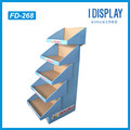 POP Step shaped Cardboard floor display rack for clothes sale