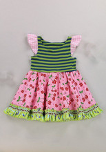 Wholesale kids girl boutique stripes clothes floral ruffle smocked dress for infant baby