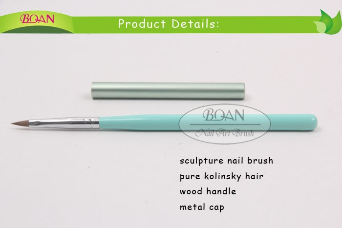 2015 Boqian Wood Handle 3D Acryl Nail Brush Kolinsky Sculpture Brush With Metal Cap