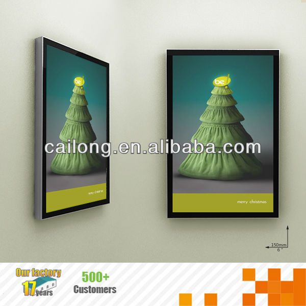 Crystal LED display advertising slim lightboxes with or withour poster