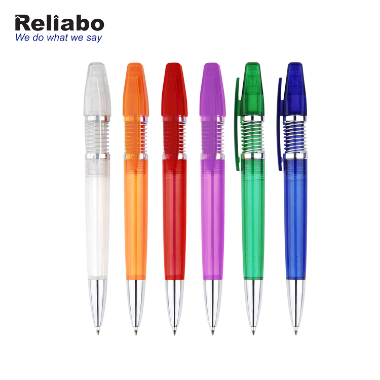 Reliabo China Factory Eco Friendly School Stationery Personalized Writing Ball Pen With Spring