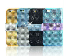 Book Style Pouch Diamond Rhinestone Bling Leather Wallet Case for iPhone 6 4.7""