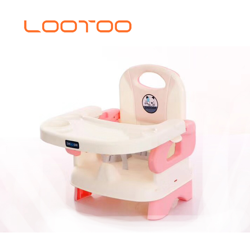 Plastic camping portable low floor baby booster feeding chair with tray