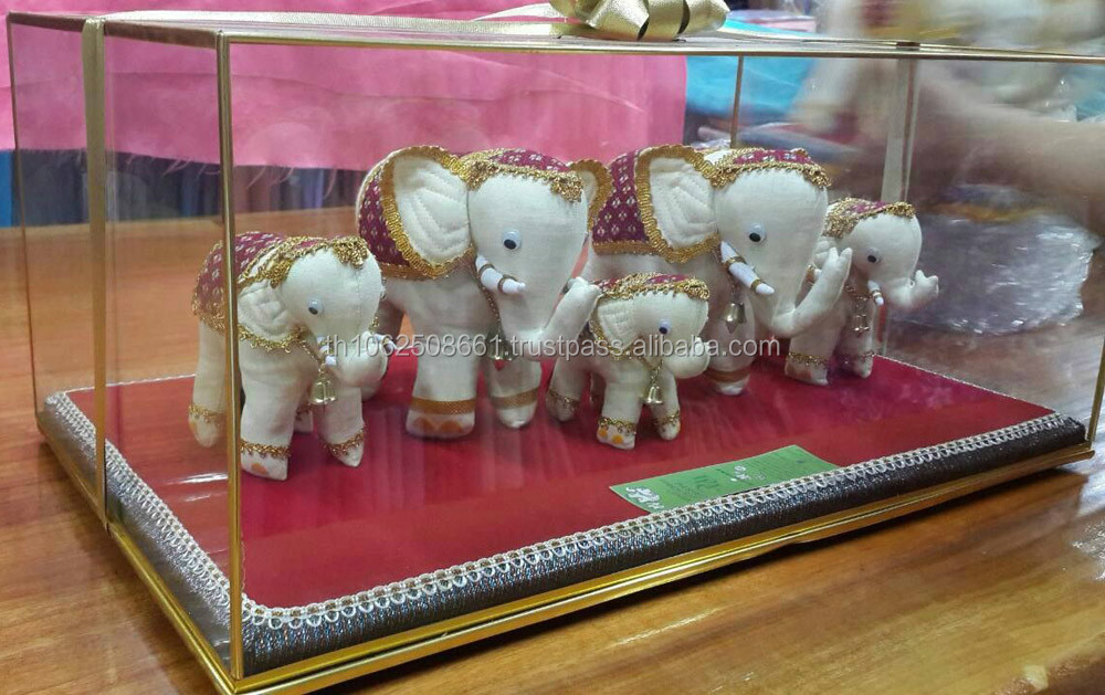 Lot of 5 Thai Royal Elephant from White Silk with Gold Accessory for Decoration,Collection