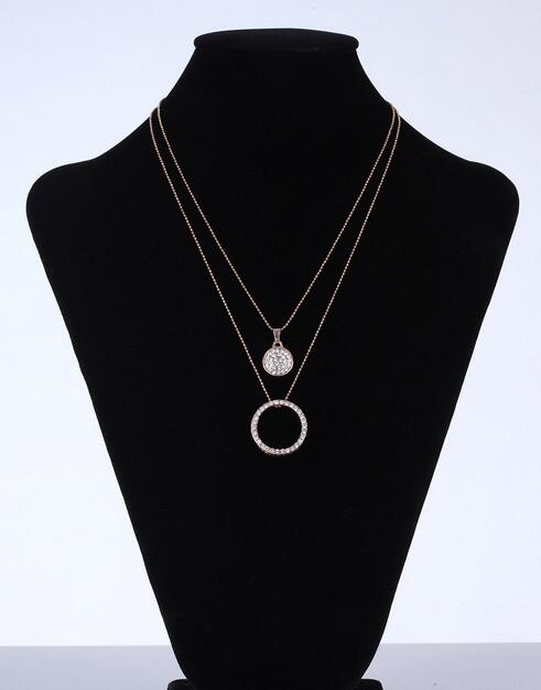 2 rows chain glass disk charm Crystal circle Pendant necklace