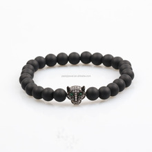 USA Style Black Rhodium Black Panther And Matt Black Onyx Beaded Bracelet Mens