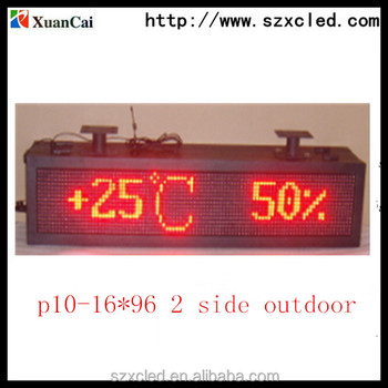 Double Side Outdoor Red Color RF Communication and Temperature and Date Function p10 16*96 LED Screen