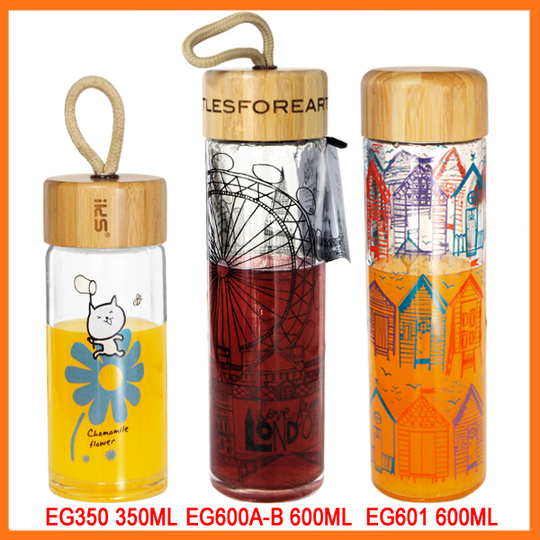 Promotional high quality unbreakable recycled glass water bottle bpa free with bamboo top