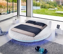 Modern Italian Style Leather Round Bed With LED Light