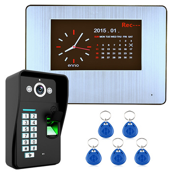 7 Inch LCD Monitor HD Camera Smart Video Door Phone Intercom System Kit with Fingerprint Recognition