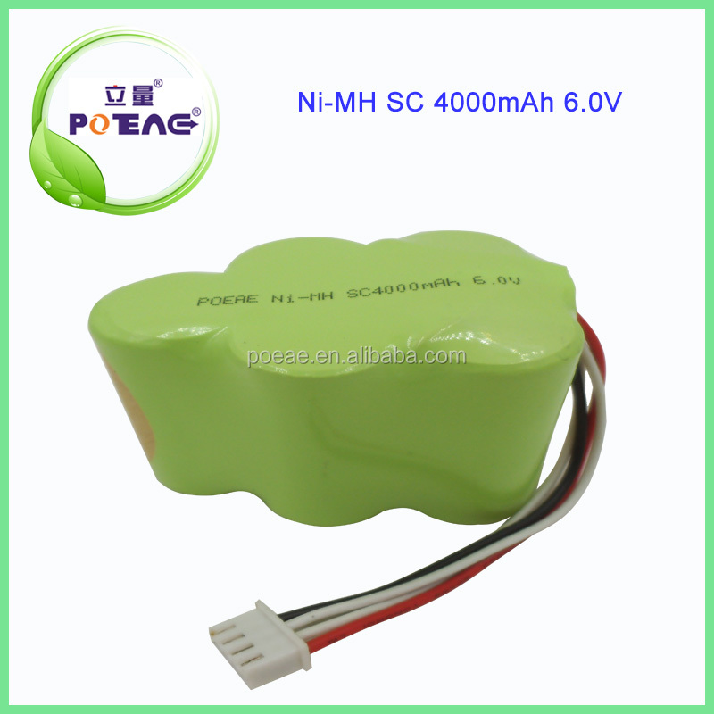China manufacturer supply 4000mah sc size 6.0v nimh rechargeable battery pack