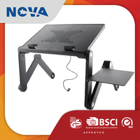 Office furniture adjustable height cooling fan roll top laptop stand table