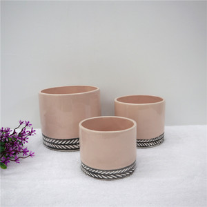 Customized half-glaze and half sandy matte ceramic pot for water plant