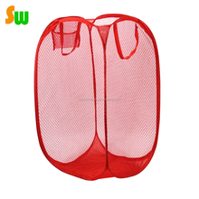 Mesh Pop Up Collapsible Easy Open Bag Basket Foldable Travel Nylon Laundry