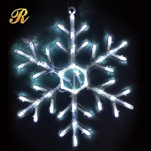 Large hanging of snowflake decorations
