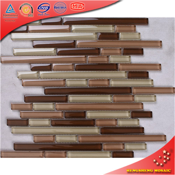 HKS13 Crystal beige Linear Glass Mosaic Tiles for Kitchen Wall Tile