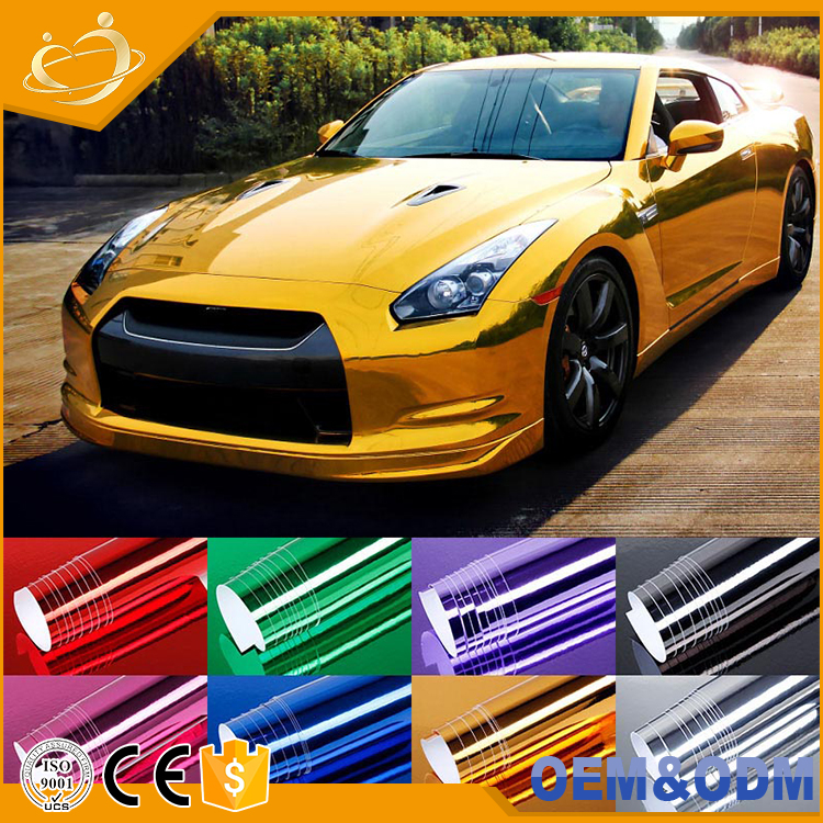 Classical chrome silver pvc self adhesive sticke r/ vinyl wrap film for car