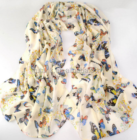new fashion style butterfly Scarves women's scarf long shawl spring silk pashmina chiffon infinity scarf