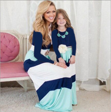 2017 long sleeve fall clothes mommy and me dresses striped cotton fashion family suits