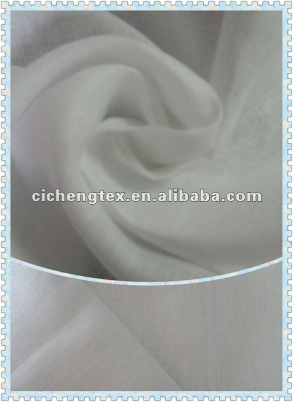100%pure linen shirting/pants fashion woven fabric PFD, BLEACH WHITE organic linen fabric