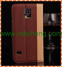 For Samsung S5 wood pattern book case flip leather case