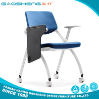 Folding stackable student training chairs with writing table