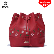 KKXIU Guangzhou brand custom handmade vintage italian designer embroidery flower PU leather lady hand bag