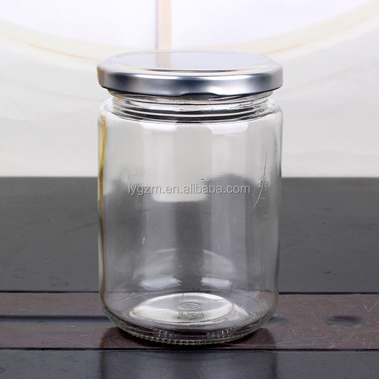 High Quality 350ml clear jam honey candy glass jar with metal screw lid