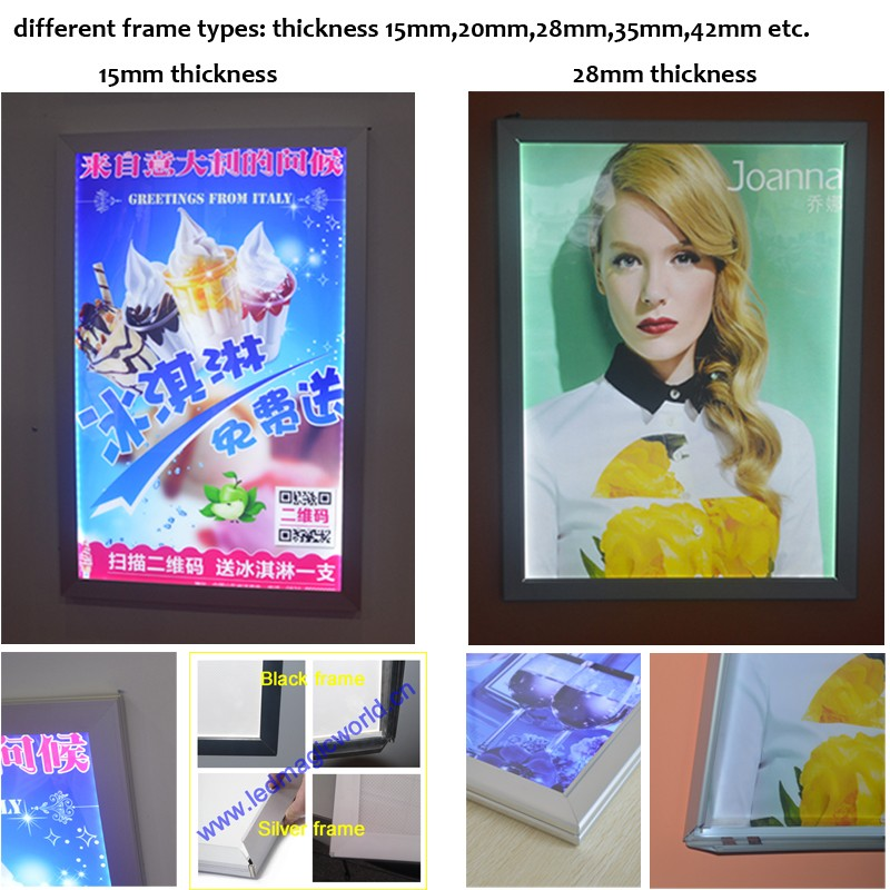 New advertising aluminum led slim snap frame light box,alibaba frame a0 a1 a2 a3 a4 led light box aluminum frame box