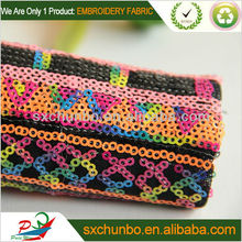 2013 new designs Nylon mesh with four colour sequin spangle embroidery for garment